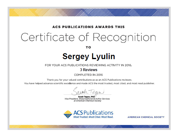 ACS Publications Certificate of Recognition